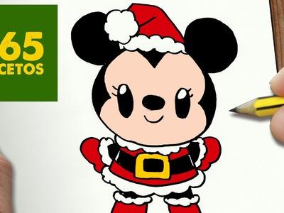 COMO DIBUJAR MINNIE MOUSE PARA NAVIDAD PASO A PASO: Dibujos kawaii navideños - draw Minnie Mouse