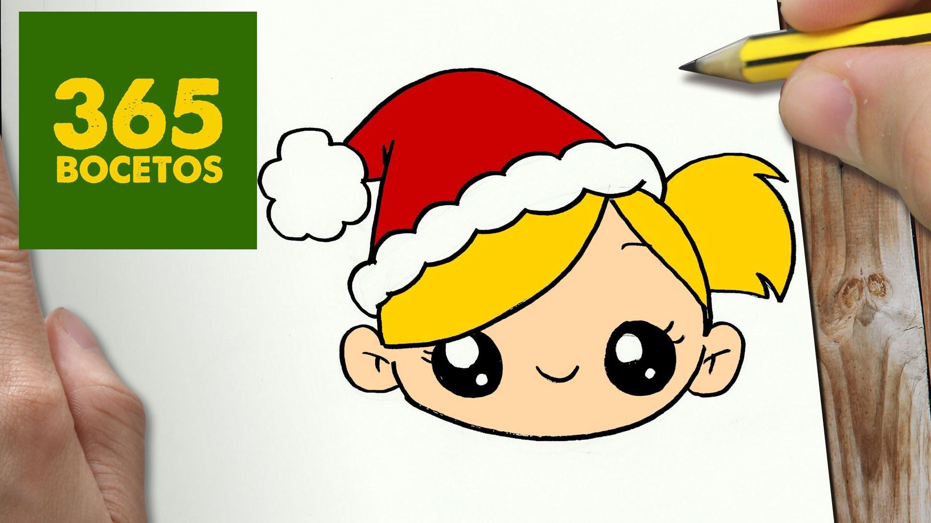 Como Dibujar Niña Para Navidad Paso A Paso Dibujos Kawaii