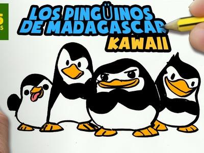 COMO DIBUJAR PINGÜINOS DE MADAGASCAR KAWAII PASO A PASO - Dibujos faciles - How to draw a PENGUIN