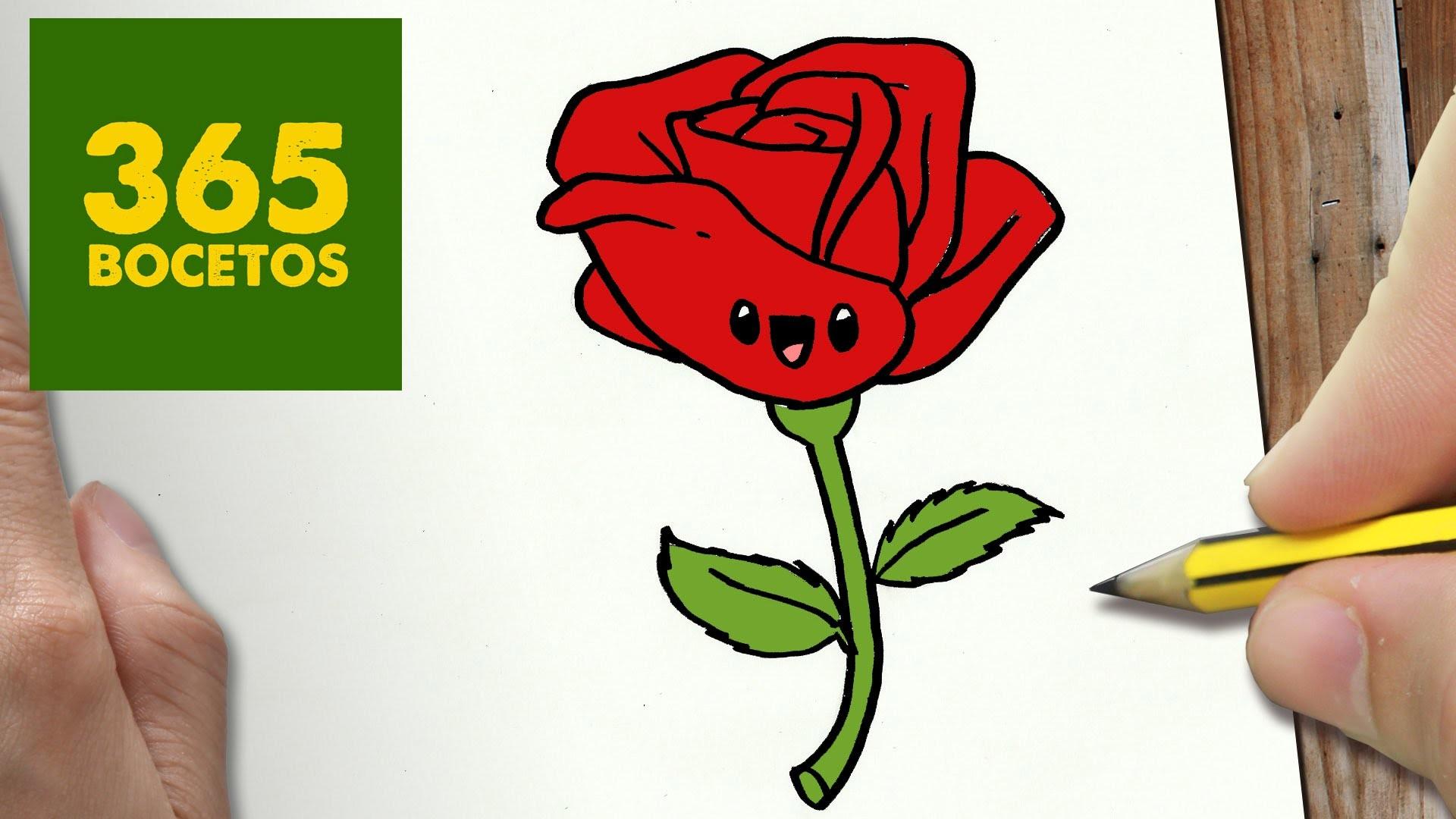 Como dibujar rosa kawaii paso a paso dibujos kawaii - Como secar una rosa ...
