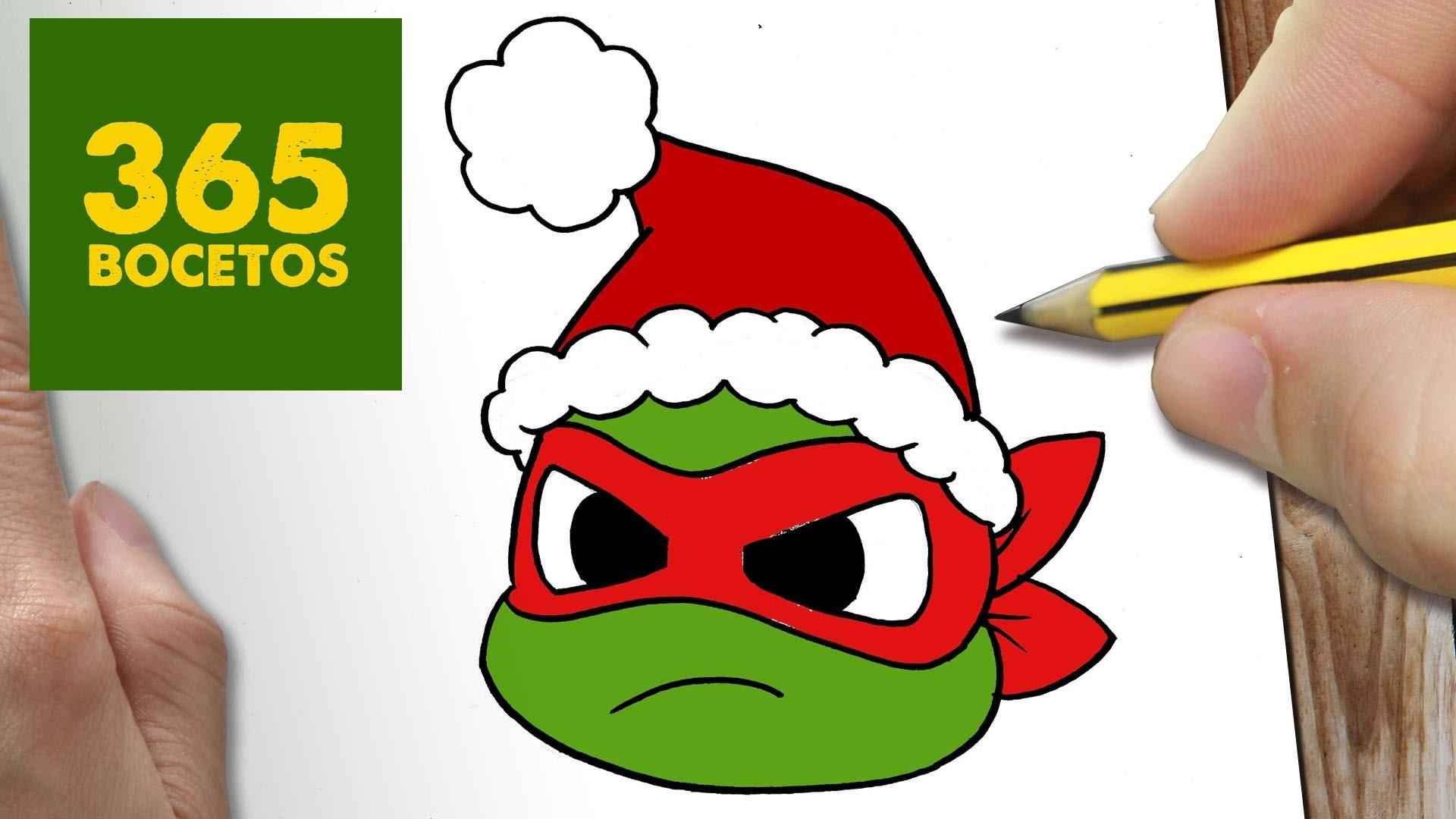 Como Dibujar Tortuga Ninja Para Navidad Paso A Paso Dibujos Kawaii