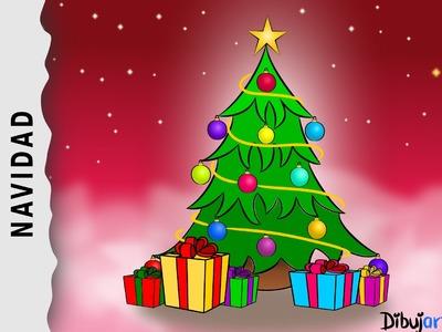 Cómo dibujar un Árbol de Navidad con Música Navideña — Dibujos de Navidad