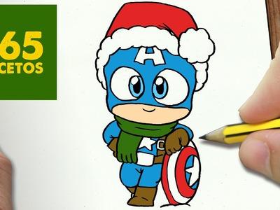 COMO DIBUJAR UN CAPITAN AMERICA PARA NAVIDAD PASO A PASO: Dibujos kawaii navideños - Captain America