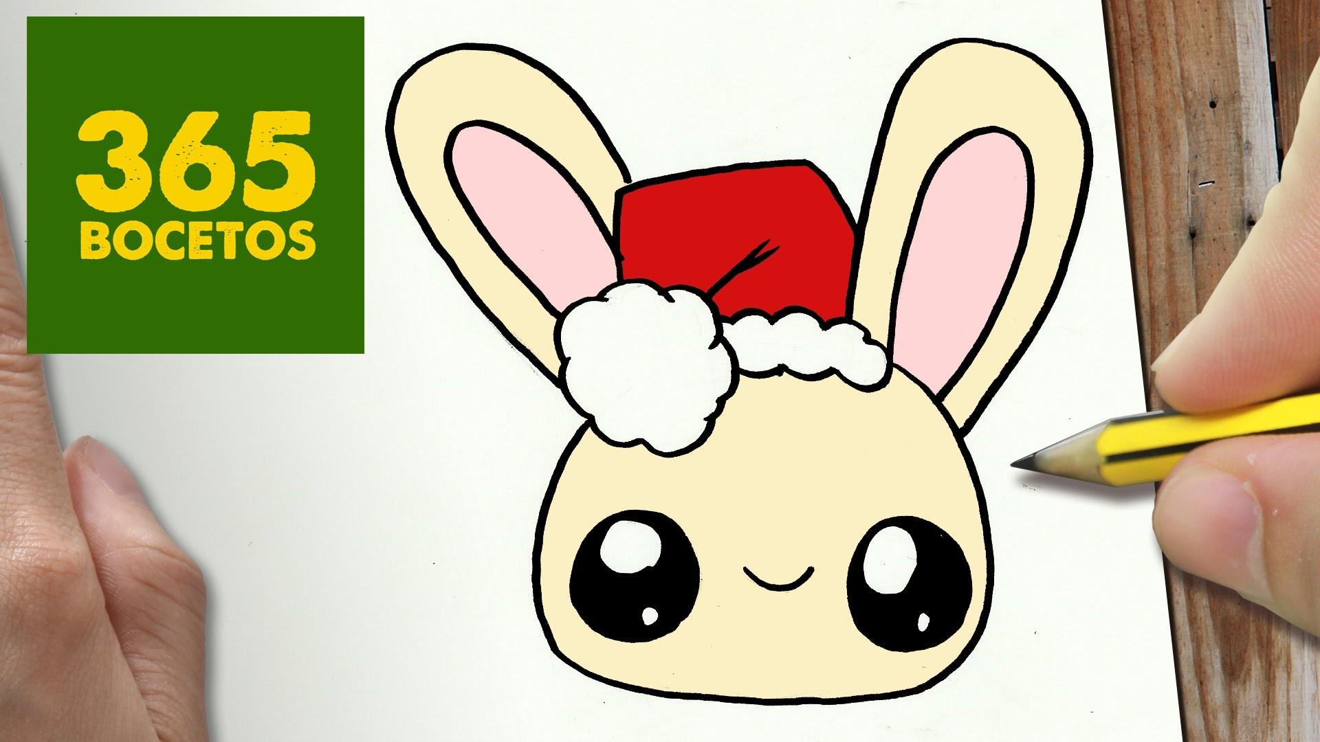 Como Dibujar Un Cuaderno Para Navidad Paso A Paso Dibujos: COMO DIBUJAR UN CONEJO PARA NAVIDAD PASO A PASO: Dibujos
