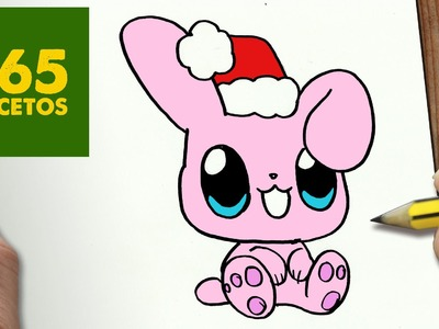 COMO DIBUJAR UN CONEJO PARA NAVIDAD PASO A PASO: Dibujos kawaii navideños - How to draw a rabit
