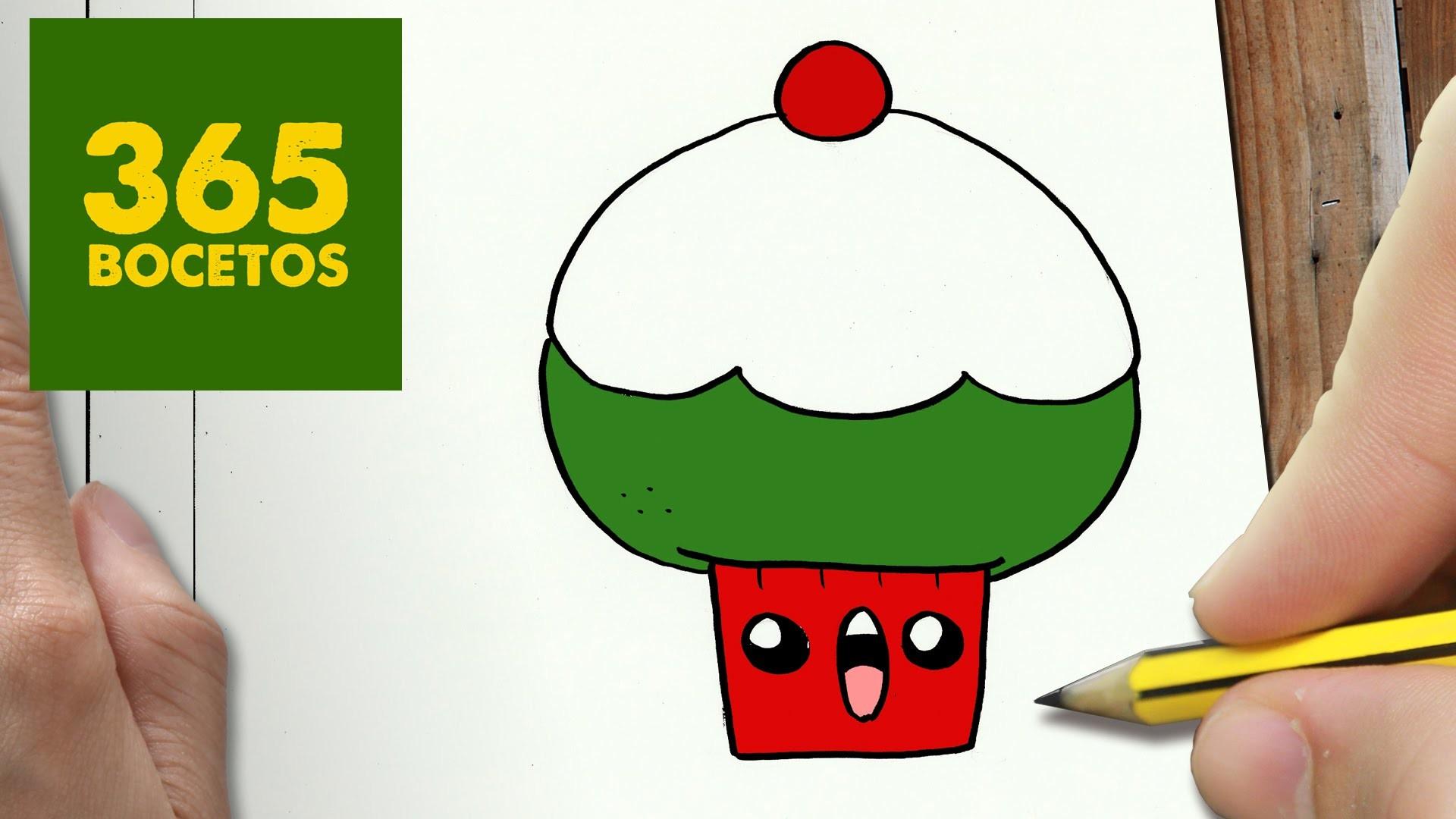 Como Dibujar Un Cuaderno Para Navidad Paso A Paso Dibujos: COMO DIBUJAR UN CUPCAKE PARA NAVIDAD PASO A PASO: Dibujos