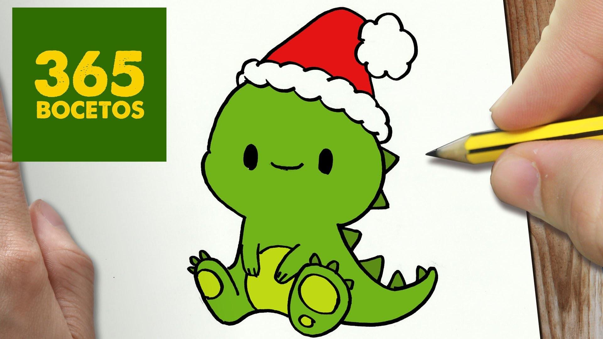Como Dibujar Un Cuaderno Para Navidad Paso A Paso Dibujos: COMO DIBUJAR UN DINOSAURIO PARA NAVIDAD PASO A PASO