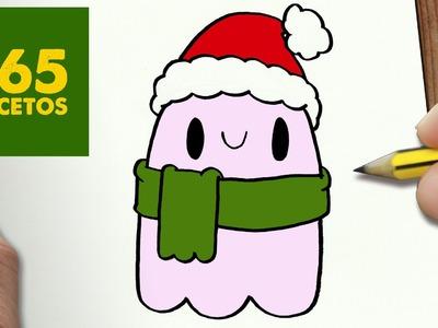 COMO DIBUJAR UN FANTASMA PARA NAVIDAD PASO A PASO: Dibujos kawaii navideños - How to draw a ghost