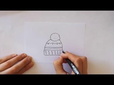 Cómo dibujar un Gorro de Lana Dibuja Conmigo Dibujos de Invierno