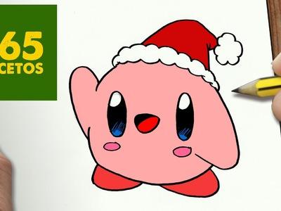 COMO DIBUJAR UN KIRBY PARA NAVIDAD PASO A PASO: Dibujos kawaii navideños - How to draw a Kirby