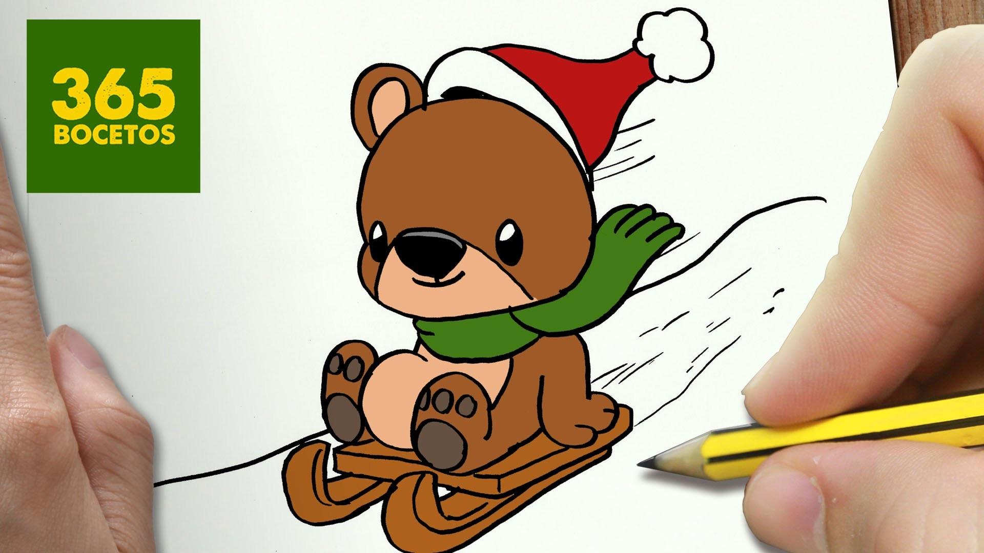 Como Dibujar Un Oso Para Navidad Paso A Paso Dibujos Kawaii
