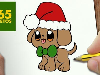 COMO DIBUJAR UN PERRITO PARA NAVIDAD PASO A PASO: Dibujos kawaii navideños - How to draw a dog