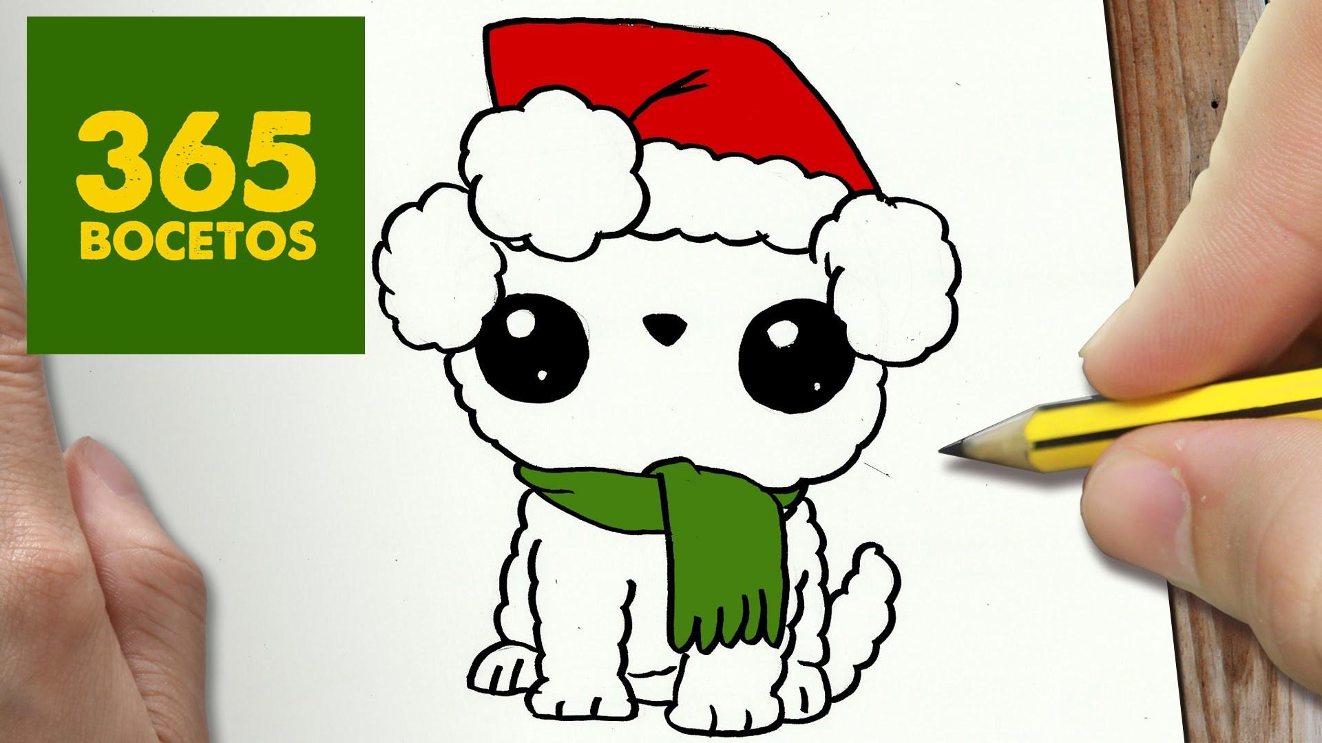 Como dibujar un perro para navidad paso a paso dibujos - Como decorar un dibujo de navidad ...