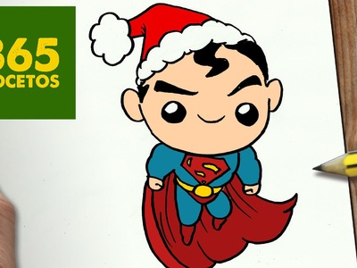 COMO DIBUJAR UN SUPERMAN PARA NAVIDAD PASO A PASO: Dibujos kawaii navideños - How to draw a Superman