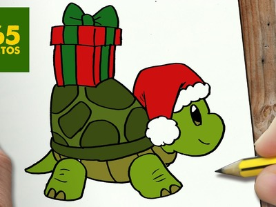 COMO DIBUJAR UN TORTUGA PARA NAVIDAD PASO A PASO: Dibujos kawaii navideños - How to draw a turtle