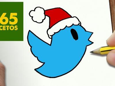 COMO DIBUJAR UN TWITTER PARA NAVIDAD PASO A PASO: Dibujos kawaii navideños - How to draw a Twitter