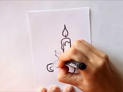 Cómo dibujar una Vela o Candil de Navidad Dibuja Conmigo Dibujos de Navidad