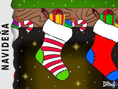 Cómo dibujar unas Botas de Navidad con Música — Dibujos de Navidad