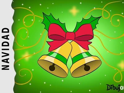 Cómo dibujar unas Campanas de Navidad con Música Navideña — Dibujos de Navidad