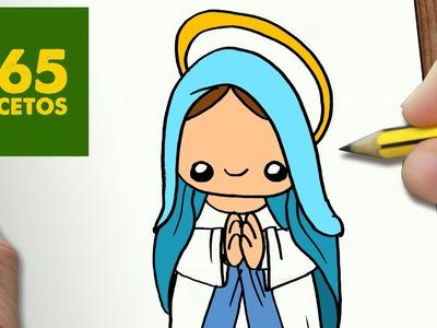 COMO DIBUJAR VIRGEN MARIA PARA NAVIDAD PASO A PASO: Dibujos kawaii navideños - draw Virgin Mary