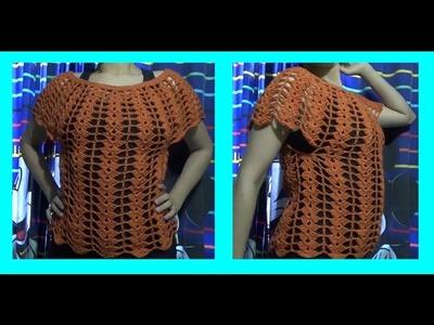 Blusa de Verano y Abanicos a Crochet