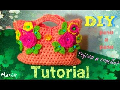 Bolsa Decorada con Flores . Bolsa Jardinera - Todo en Crochet!!!