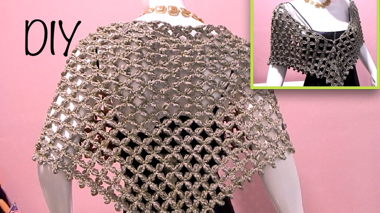 Capa triangular flor punto alargado ganchillo, crochet layer up cape DIY