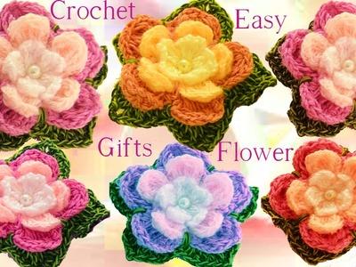 Como tejer flores de 5 pétalos triples con hojas a crochet  How to Crochet a flower
