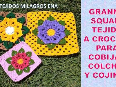 Como tejer granny square o cuadrado a crochet a partir de una Flor con hojas paso a paso
