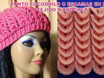 Punto Cocodrilo o escamas en fila tejido a crochet o ganchillo paso a paso