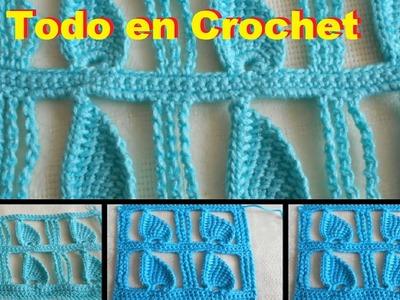 Punto Edbralda en crochet - punto  fantasía en crochet y tunecino