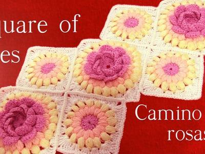 Rosas  en alto relieve y flores tejidas a Crochet o Ganchillo - granny square crochet