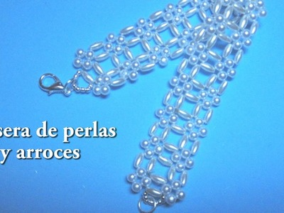 # - DIY .Pulsera de perlas y arroces # - DIY .Pearl and rice bracelet