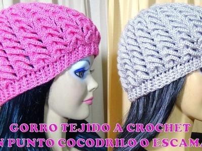 Gorro tejido a crochet para niñas, señoritas y señoras en Punto  Cocodrilo o Escamas paso a paso