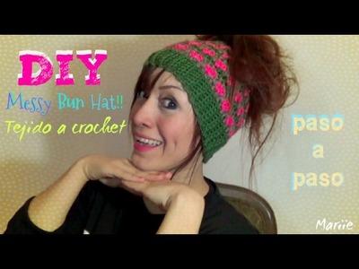 Messy Bun Hat!!! - Gorrito para Chongo!! Detalles en Corazon!! Tejido a Crochet