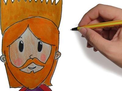COMO DIBUJAR A LOS REYES MAGOS GASPAR PASO A PASO FACIL: dibujos de Navidad a color para niños