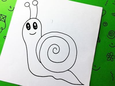 Como dibujar un caracol paso a paso   How to draw a snail