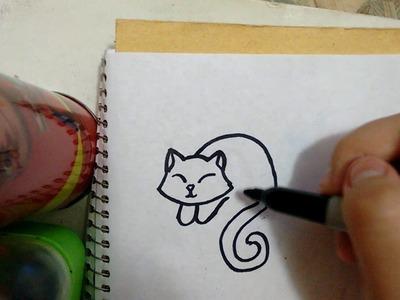 Como dibujar un gatito durmiendo