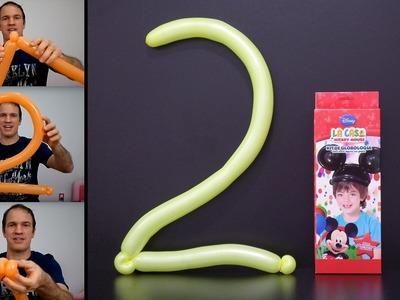 Como hacer números con globos - globoflexia facil 2 - numero dos con globos largos -  numero 2