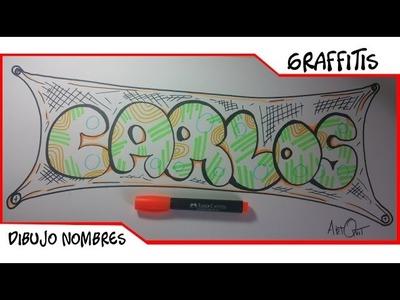 Dibujar Nombre En Graffiti. CARLOS. Como Dibujar letras en 3d Fáciles en papel | ArtQuit Draw
