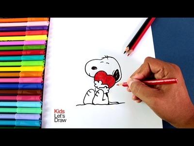 Dibujos Día del Amor y la Amistad: Snoopy enamorado | How to draw Snoopy in Love