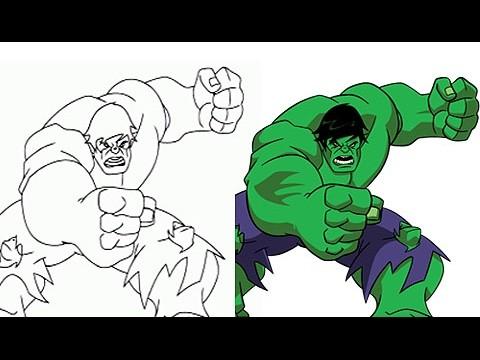 Pintando A Hulk Super Heroes De Marvel Dibujos Animados