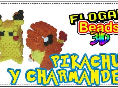 POKÉMON 3D (PIKACHU Y CHARMANDER) CON HAMA BEADS - HAMA BEADS 3D #5 - DIY - FLOGAR BEADS TUTORIALES