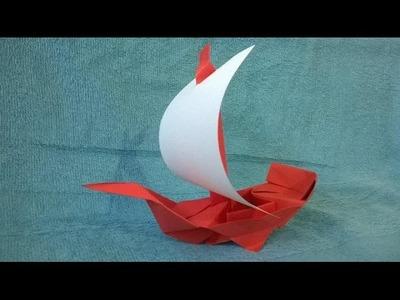★Como hacer un Espectacular Barco Pirata de papel Origami★ - Origami Pirate Ship