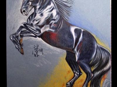 DIBUJO DE CABALLO. dibujando caballos a colores. DIBUJOS.