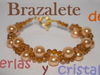 Brazalete de cristal y perlas - Tutorial - DIY