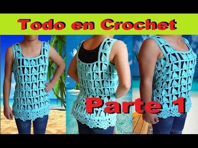 Blusa de flores punto Edbralda en crochet - fantasía en crochet y tunecino, talla M a G Parte 1