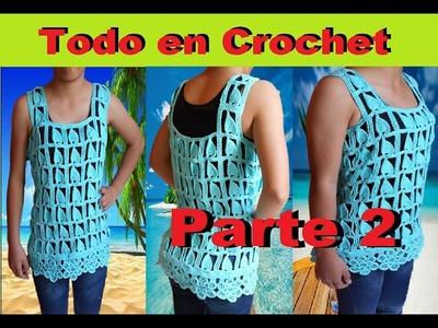 Blusa de flores punto Edbralda en crochet - fantasía en crochet y tunecino, talla M a G  Parte 2
