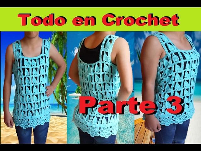 Blusa de flores punto Edbralda con punto fantasía en crochet y tunecino, de M a G Parte 3 de 3