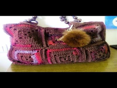 Bolso de crochet con cuadrados grandes